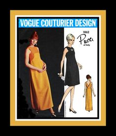Vintage 1967- Stunning Evening Gown- Cocktail Dress-VOGUE COUTURIER DESIGN-Sewing Pattern Design by Pucci -Uncut -Size 10- Rare- Collectible on Etsy, $163.93 AUD