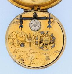 Very fine and rare English silver gilt pre-hairspring verge antique pocket watch by Henry Grendon, Royal Exchange, London, circa 1660. Wonderful movement with pinned cock, set-up regulator, gut fusee, and engraved triangular pillars. Gilt dial, possibly a replacement but from the same period.