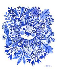 Lion Blues...  limited Edition Giclee Print einer von helendardik