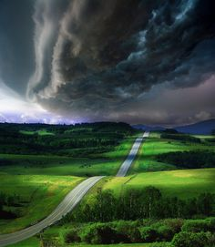"bluepueblo:    Impending Storm, Colorado  photo via ra      alltheextrastuff: I don't live in Colorado, but our storms often resemble this. Because of our terrain, it's possible to get really good views of storm clouds. We see the WHOLE sky, not just the bit that is right above us. (Welcome to ""tornado alley"".) A friend of mine from far away asked me the other day, ""Don't you ever just get rain without a storm?"". LOL. Not as often as I'd like."