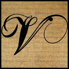 Antique letter v script monogram digital download for dictionary v thecheapjerseys Choice Image