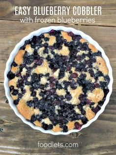 My favorite blueberry cobbler starts with frozen blueberries: they're always in . - My favorite blueberry cobbler starts with frozen blueberries: they're always in season, pre-washe - Frozen Blueberry Recipes, Easy Blueberry Cobbler, Blueberry Desserts, Blueberry Cake, Just Desserts, Dessert Recipes, Blueberry Pie Recipe With Frozen Berries, Blueberry Cobler, Blueberry Oatmeal