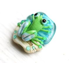 Lampwork glass Frog bead handmade froggy beach Blue by MayaHoney Glass Earrings, Sea Glass Jewelry, Beads Of Courage, Glass Frog, Beaded Animals, Jewelry Making Beads, Czech Glass Beads, Lampwork Beads, Jewelry Supplies