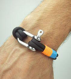 Paracord Bracelet in Black-Blue-Orange- Survival Bracelet / Nautical Sailing Bracelet Stainless steel Shackle-Mens Bracelet-Rope Bracelet