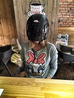 """""""Daft punk"""" visitor at Organza Cafe"""