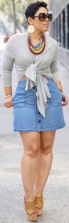 Denim Skirt / Fashion Look By Mimi G