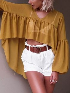 Shop Yellow V Neck Dip Hem Puff Sleeve Chiffon Blouse from choies.com .Free shipping Worldwide.$16.19