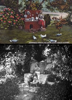 """The Busch Gardens in Pasadena used to have lots of really eclectic little fairytale sculptures within the 16-acre lower end of the park. Here was a forgotten one entitled, """"Cinderella Feeding the Birds."""" The top image was how it appeared around 1909, when the park first opened to the public. The bottom photo was taken in 1937 by renown photographer, Herman Schultheis. You can tell, by the late 1930s, the statue had been altered and was in need of restoration.  (Bizarre Los Angeles)"""