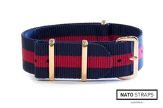 Navy and Red Striped NATO with Rose gold hardware | Rose Gold Metal NATO | Watch Straps Australia