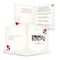 Hochzeits Einladungskarte Creme Brigitta und Valentin - Carinokarten.de