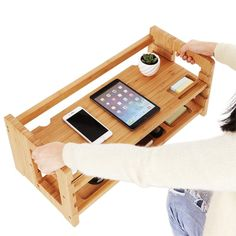 Bamboo Height Adjustable Monitor Stand With Storage Shelf - Buy Bamboo Height Adjustable Monitor Stand Product on Alibaba.com Folding Computer Desk, Wooden Desk Organizer, Bamboo Shelf, Printer Stand, Buy Bamboo, Bed Tray, Pc Desk, Monitor Stand, Laptop Stand