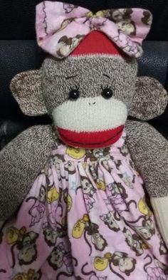 Primitive Sock Monkey Vintage Doll In Pink by primitivewishfuls on Etsy