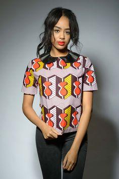 Mina African Print Leather Collar Top (Gray/Orange/Yellow) ~African fashion, Ankara, kitenge, African women dresses, African prints, Braids, Nigerian wedding, Ghanaian fashion, African wedding ~DKK