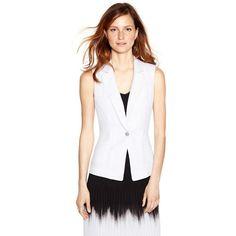 White House Black Market Womens Sleeveless White Vest Jacket (€45) ❤ liked on Polyvore