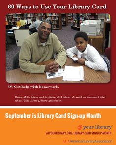 #16. Get help with homework.  Photo: Mekhi Moore and his father Nick Moore, Jr. work on homework after school. New Jersey Library Association.