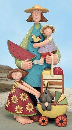 Mom and Daughters at the Beach Figurine– Everyday Folk Art Figurines & Collectibles – Williraye Studio $25.00
