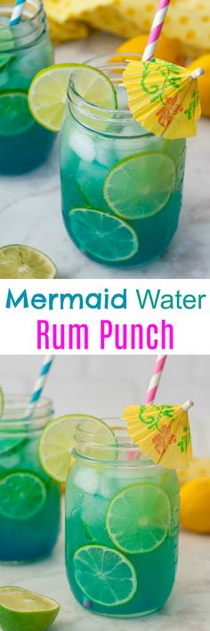 Mermaid Water Rum Punch Cocktail will make you feel like you're on a tropical island and perfect for a hot summer day. Multiply the ingredients to make a big batch for your next holiday party or picnic! (on holiday summer) Rum Punch Cocktail, Cocktail Drinks, Fun Drinks, Beverages, Picnic Drinks, Bartender Drinks, Disney Drinks, Party Drinks Alcohol, Cocktail Recipes