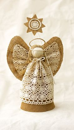 Angel Christmas Tree Topper, Burlap Christmas Ornament, Holiday Centerpiece, Christmas Gift