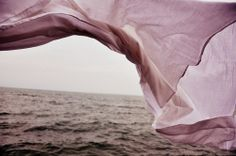 fabric  - billowing in the breeze above sea