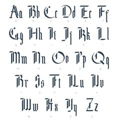 """Lettering Fonts Discover NOF: Blackletter Modern Gothic Font Creative Market Typeface was designed for purchase """"Supermne"""" Modern Gothic Alphabet has rigid straight vertical strokes with only light ornamentation/details Gothic Alphabet, Tattoo Fonts Alphabet, Calligraphy Alphabet, Calligraphy Fonts, Typography Letters, Gothic Lettering, Gothic Fonts, Lettering Design, Tattoo Ideas"""