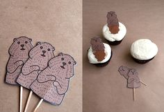 Groundhog Day Cupcake Toppers