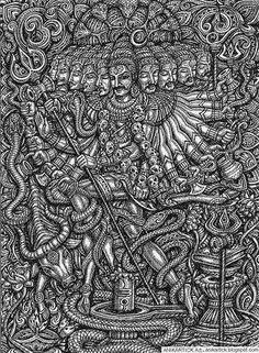 Cartoon hand-drawn picnic doodles line art seamless pattern. Detailed, with lots of objects vector background Mahakal Shiva, Shiva Art, Ganesha Art, Hindu Art, Shiva Linga, Lord Shiva Hd Images, Lord Shiva Hd Wallpaper, Shiva Tattoo, Kali Goddess
