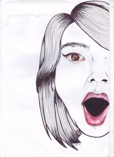 """extreme self potrait"" , color pencil and ink on paper"