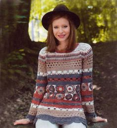 Crochet pullover PATTERN, use yarn left from other projects, detailed tutorial…