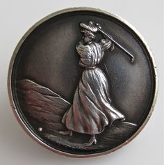 Fine Antique Edwardian 1910 Solid Silver Button Lady Playing Golf No Reserve | eBay