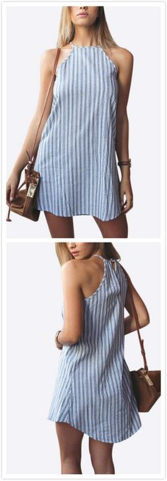 Bring attention to this casual & fashion style mini dress, stripe pattern dress can give you a fresh look. Besides, this piece also features sleeveless, halter design. Pair it with sandals is perfect