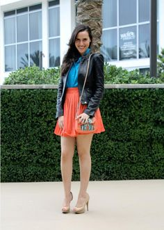 rachel roy purse. orange blue.  colorblocking  leatherjacket Rachel Roy 9ecde961c37