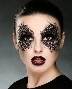 Maquiagem Halloween, idéia facil de fazer, riscos no rosto