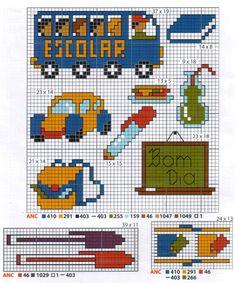 Gráficos-de-Escola-ponto-cruz2 Gráficos de Escola Baby Cross Stitch Patterns, Cat Cross Stitches, Cross Stitch For Kids, Mini Cross Stitch, Cross Stitch Designs, Cross Stitching, Cross Stitch Embroidery, Bead Patterns, Cross Stitch Boards