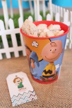 Favor Cup from a Peanuts + Charlie Brown Birthday Party via Kara's Party Ideas | KarasPartyIdeas.com (27)