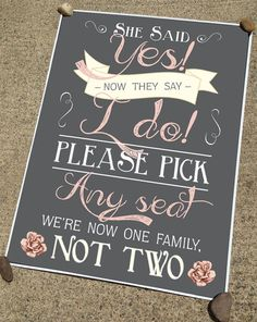 "Rustic Chalkboard Wedding Ceremony Sign in any size - ""Pick A Seat, Not A Side"" - Vintage Cottage Custom Poster Print on Etsy, $18.00"