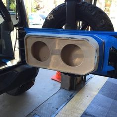 """2015 Jeep Wrangler Rubicon custom 2 10"""" alpine Type-R subwoofers with pressed grill mesh and aluminum protection rods by Audiotoyz.(DURING) - Yelp"""