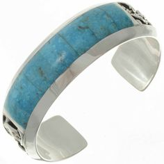 Navajo made, Big Boy Blue Turquoise Cuff is a combination of stunning inlay with a premium weight of Sterling. Silver Cuff, Silver Bracelets, Sterling Silver Necklaces, Silver Rings, 925 Silver, Native Indian Jewelry, Native American Jewelry, Cute Jewelry, Jewelry Shop
