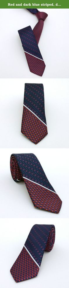 "Red and dark blue striped, dotted men's tie 5,5 cm (2.17"") SL-003. Red and dark blue striped, dotted men's necktie SL-003 Width : 5,5 cm (2,17"") Length : 150 cm (59,06"")."