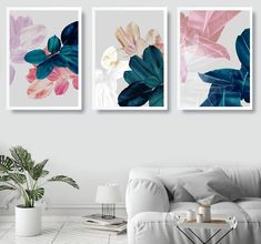 Multiple Canvas Paintings, Large Canvas Art, Love Wall Art, Modern Wall Art, Modern Prints, Canvas Wall Decor, Home Decor Wall Art, Decorating With Pictures, Botanical Wall Art