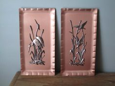 Mid-Century Copper Wall Art Pictures Herons & by CuriousCatVintage