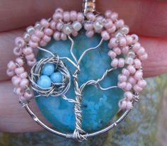 Whimsical Enchanted Tree on Turquoise Jasper by Starsbcreations