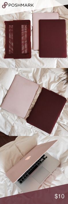 """Burgundy MacBook Air 13"""" Hardcase Never been used, no brand. Fits like the pink one does in the photos. New Urban Outfitters Accessories Laptop Cases"""