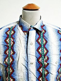 Vintage Roper Waterfall Slowdive Pattern Cowboy Western Shirt L Large