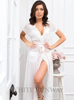 Farrah Lace Robe. Homebodii's new Farrah robe is just what you need whether you are getting ready for your big day, or winding down! Semi-sheer white chiffon adorned with elegant lace rosettes. Wearing the Farrah you'll achieve the sense of elegance that catches every eye in the room!