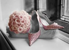 Pink sparkle shoes and rose wedding bouquet Pink Wedding Shoes, Sparkly Shoes, Pink Sparkly, Wedding Heels, Bridal Shoes, Pink Love, Cute Pink, Pink Grey, Pretty In Pink