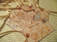 Butterflies Postage Gift Tags Handstamped Rose Lace Ribbon via Etsy