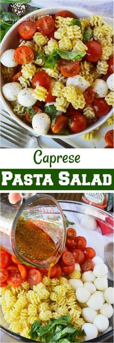 Caprese Pasta Salad Recipe is a simple yet flavorful side dish. This pasta salad is filled with mozzarella, tomatoes and basil. Tossed with an Italian oil dressing and topped with balsamic vinegar glaze.