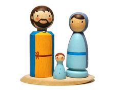 Wooden Nativity Set. Holy Family. Nativity Scene. Jesus, Mary and Joseph. Nativity Peg Dolls. Nativity Figures. Baby Jesus.  This Nativity set is