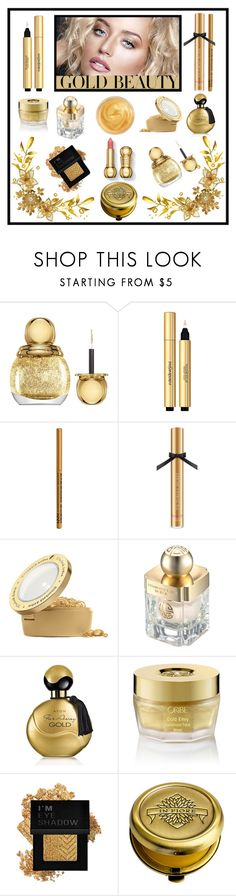 """""""Golden Girls: Gold Beauty"""" by terryandjim ❤ liked on Polyvore featuring beauty, Christian Dior, Yves Saint Laurent, NYX, Victoria's Secret, Elizabeth Arden, Shanghai Tang, Avon, Oribe and Forever 21"""