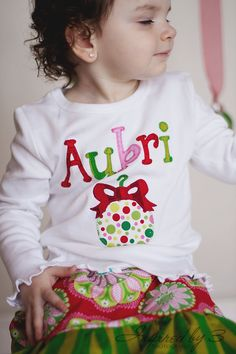 Girls Christmas Name Shirt  Christmas Shirt  by aHouseintheWoods, $25.00